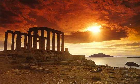 Sunset falls on the Temple of Poseidon