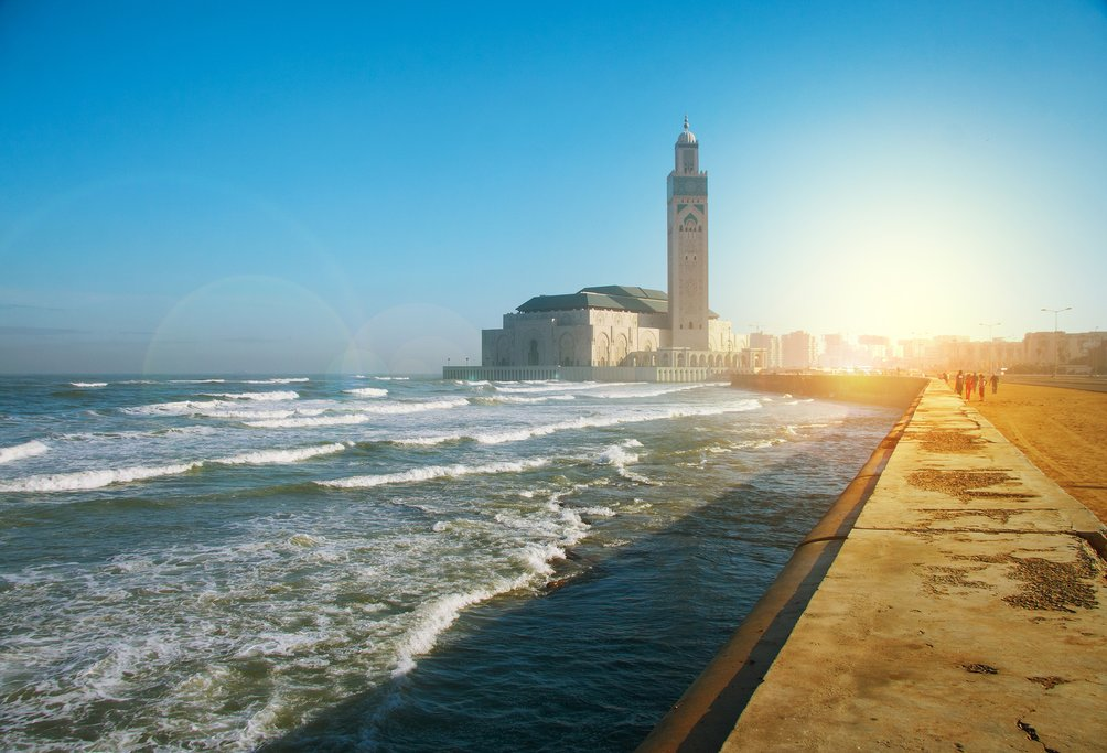 Oceanfront view of Hassan II Mosque