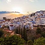 Sunset over Chefchaouen, view from the Spanish Mosque