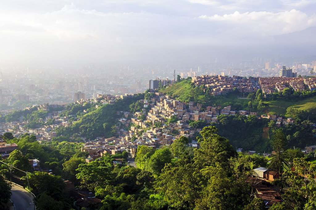 View of Medellín's skyscrapers nestled in the Andean Mountains