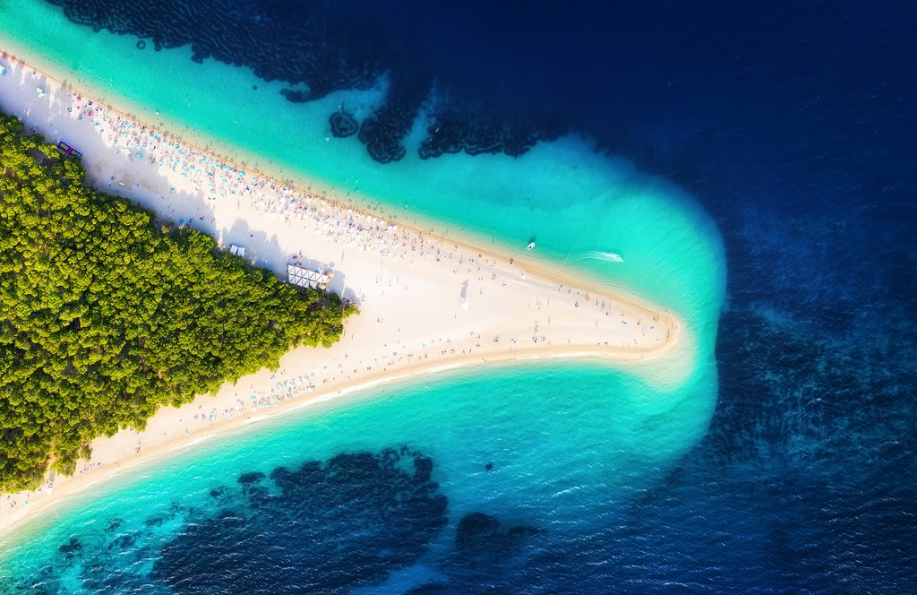 Stunning aerial shot of Zlatni Rat beach