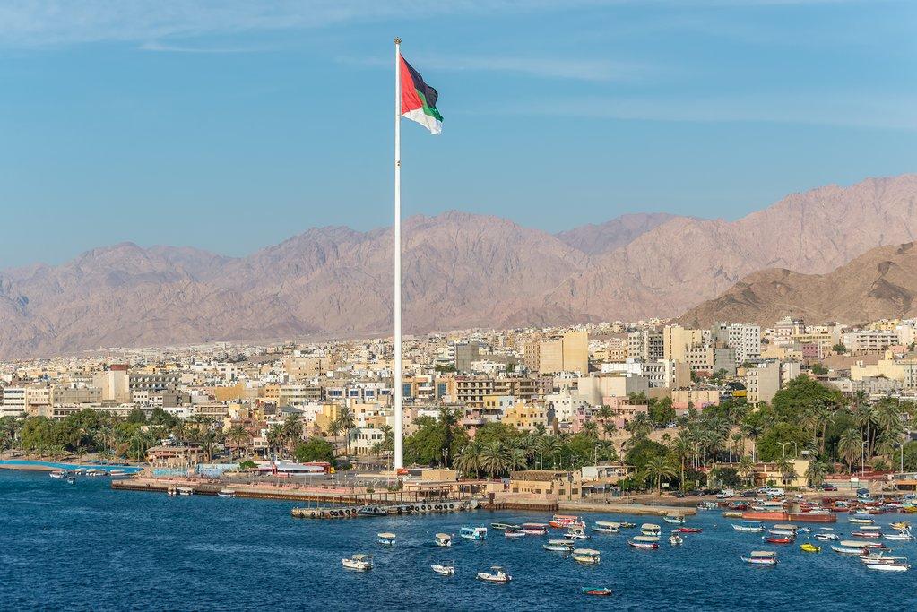 Jordanian flag towering over Aqaba