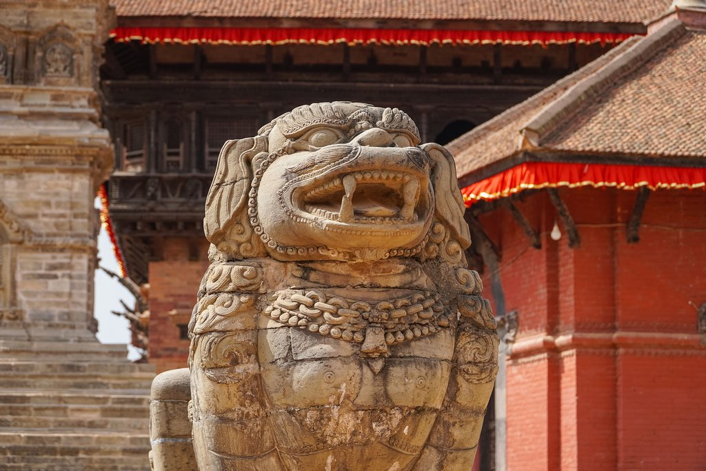 A lion stands guard at Bhaktapur Durbar Square