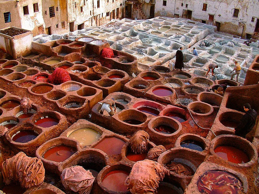 Looking onto the Tanneries Chouara in Fes