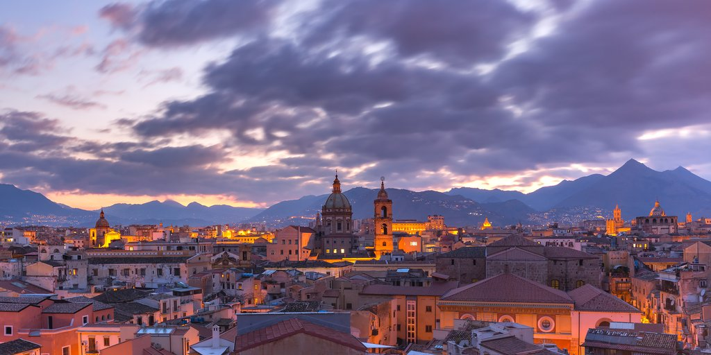 View of Palermo, Sicily, at sunset