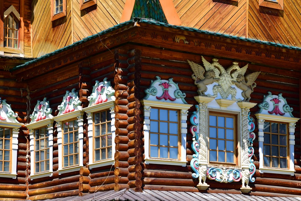 Ornate details on the Wooden palace in Kolomenskoye