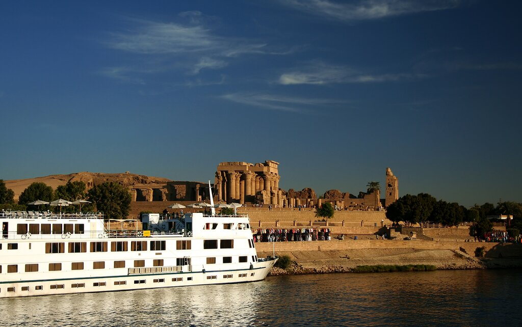 A boat docked at the Temple of Kom Ombo