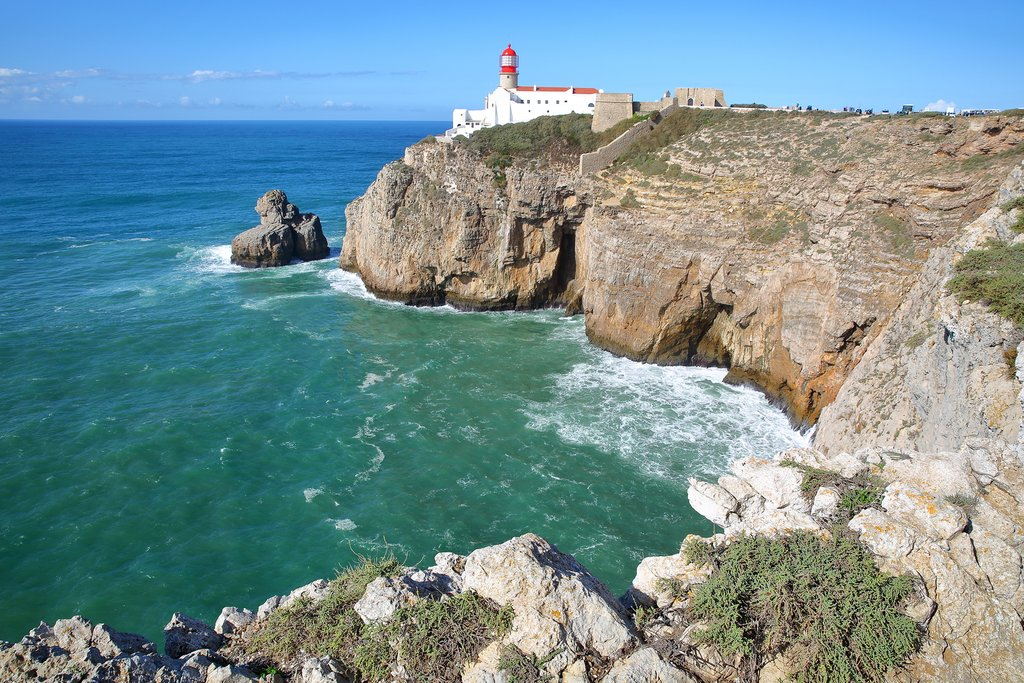 A lighthouse overlooks Cape St Vincent