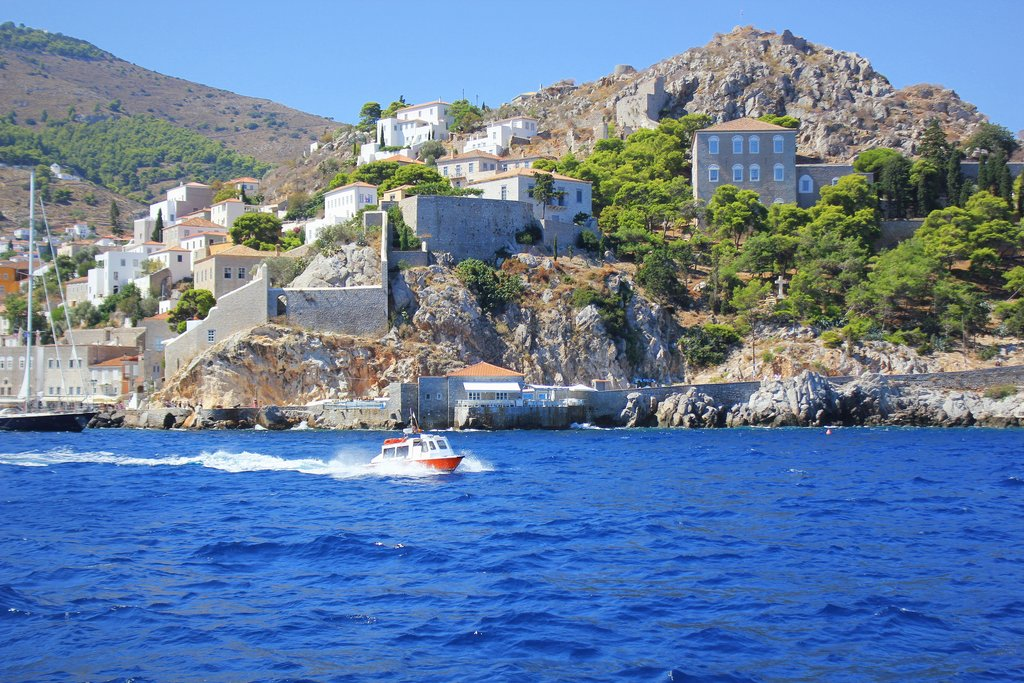 A scenic shot of the island of Hydra, part of the Saronic Islands
