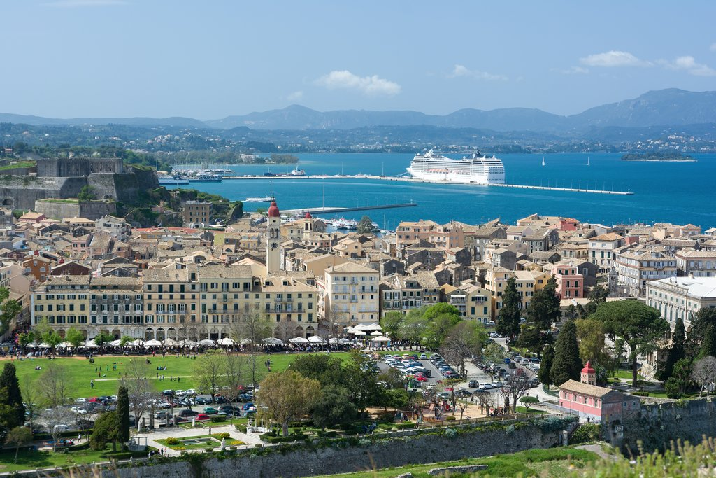 A cityscape of Corfu's old town