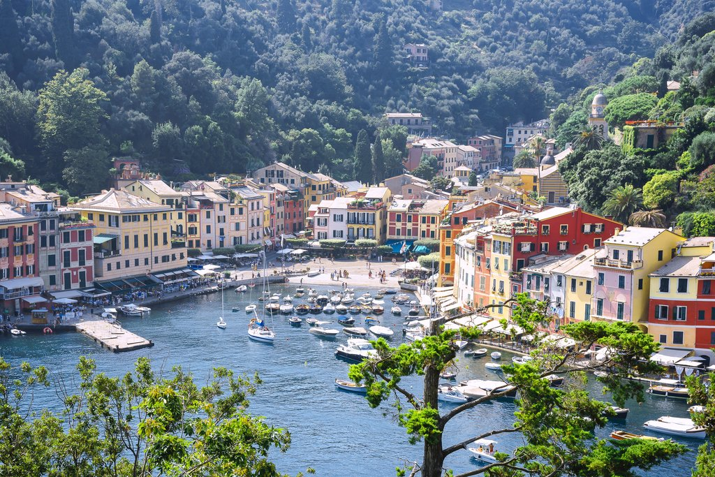 View of the harbor in Portofino, Liguria