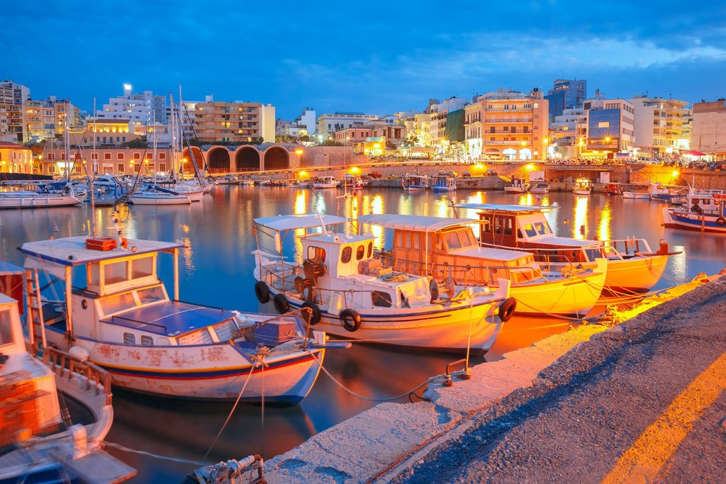 Heraklion's Harbor Lights at Dusk