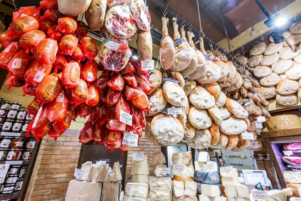 Locally produced cheese and prosciutto in Bologna, Italy