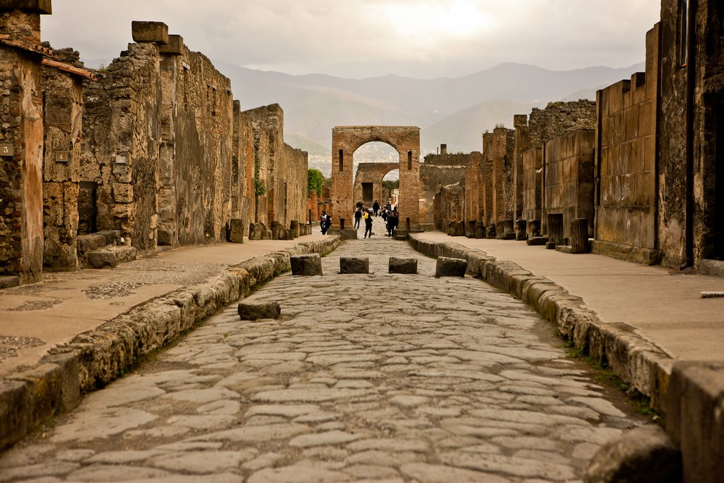 Abandoned city street in Pompeii