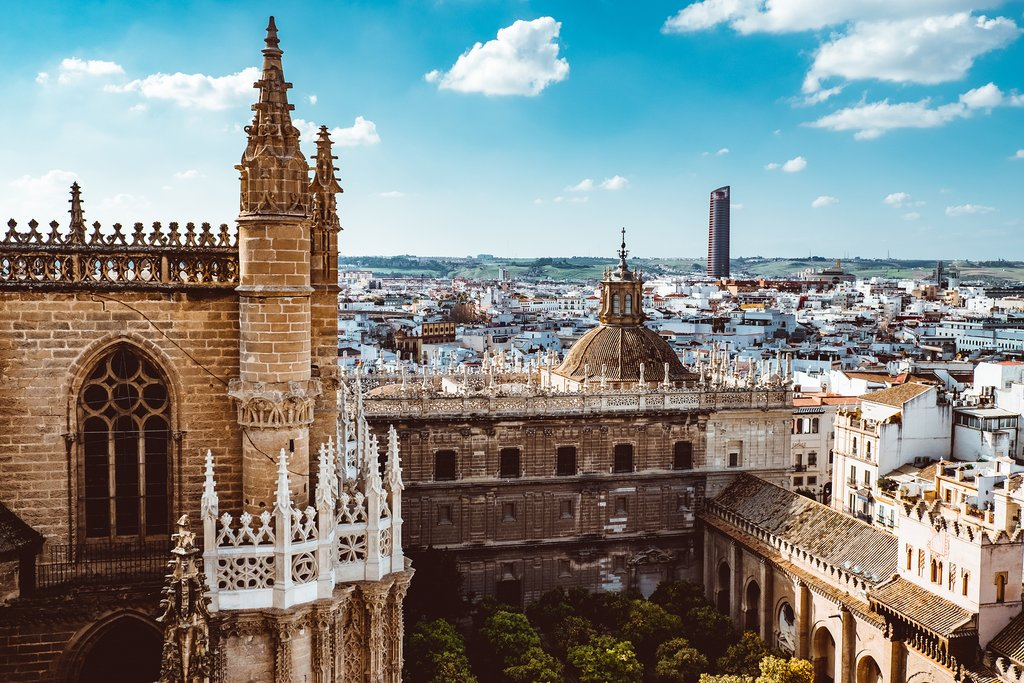 Aerial view of Seville and the Cathedral