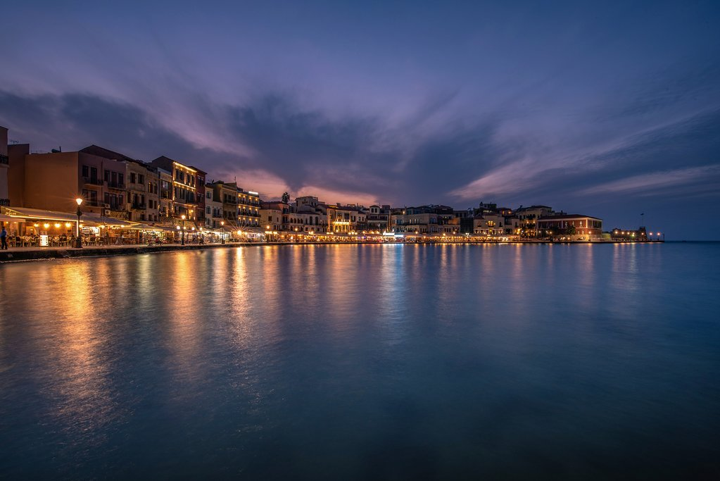 The old Venetian harbor of Chania at night