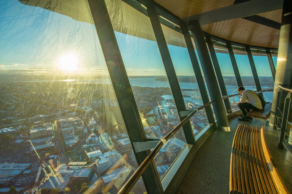 The view of Auckland from atop the Sky Tower