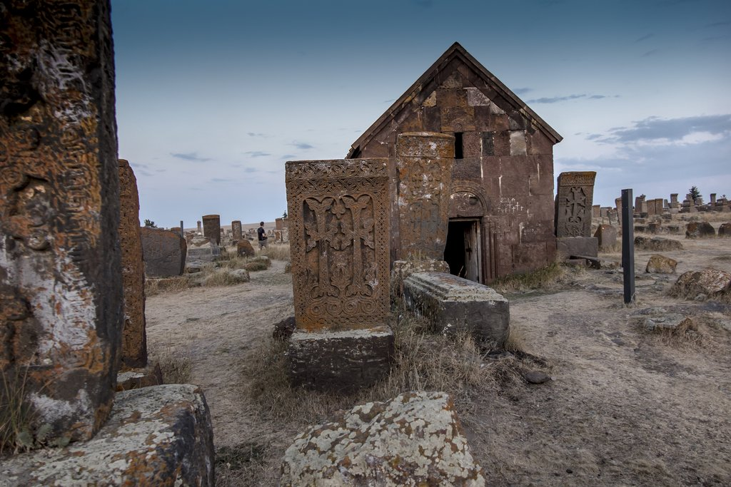 Historical cemetery with ancient tombstones known as Khachkars