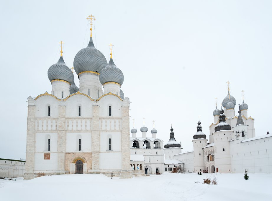 Uspensky and Voskresensky Cathedrals in Rostov Veliky Kremlin