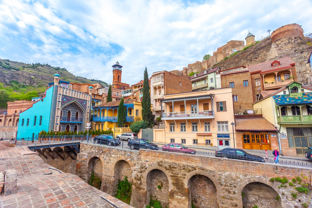 Domes of sulphur baths and carved balconies in the Old Town of Tbilisi