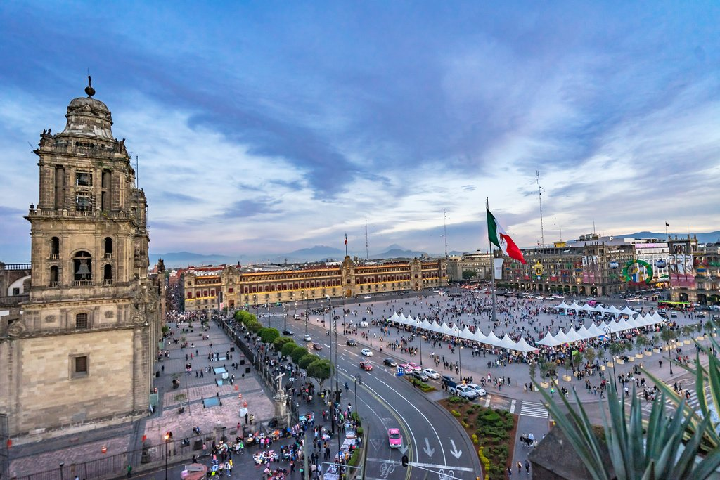 Overlooking the Zócalo in downtown Mexico City