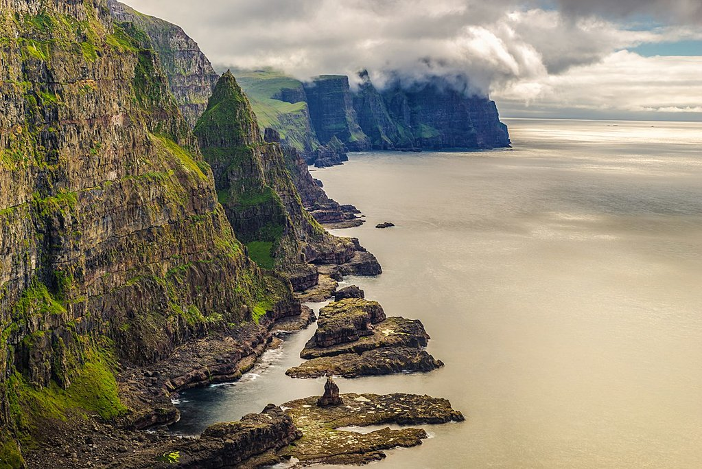 Steep cliffs and the North Atlantic Ocean