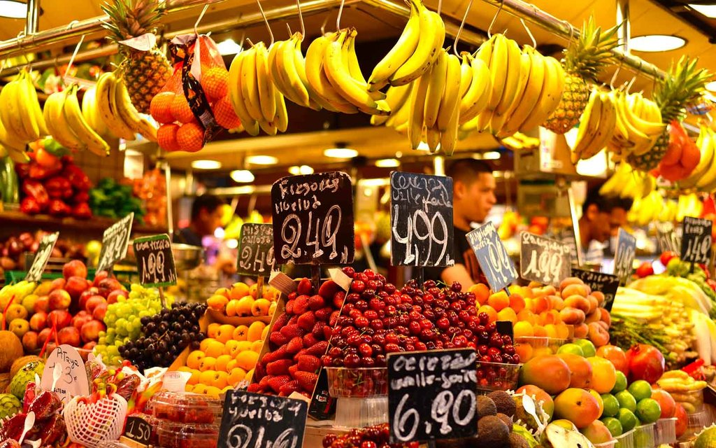 Fresh produce at the Boqueria Market