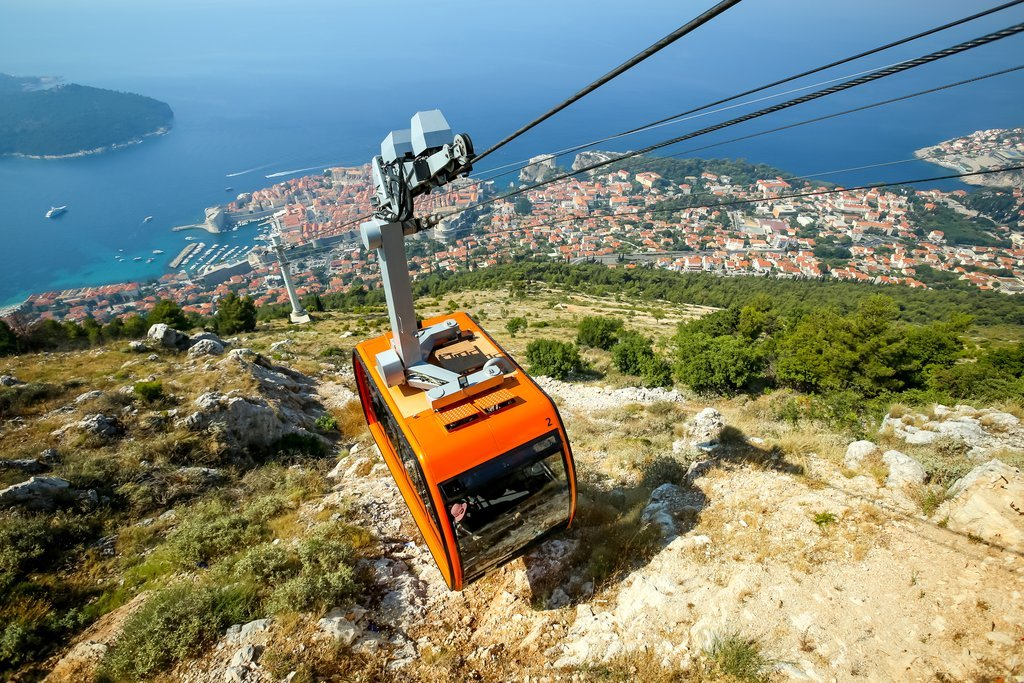 Cable car heading up Srđ Mountain, overlooking Dubrovnik