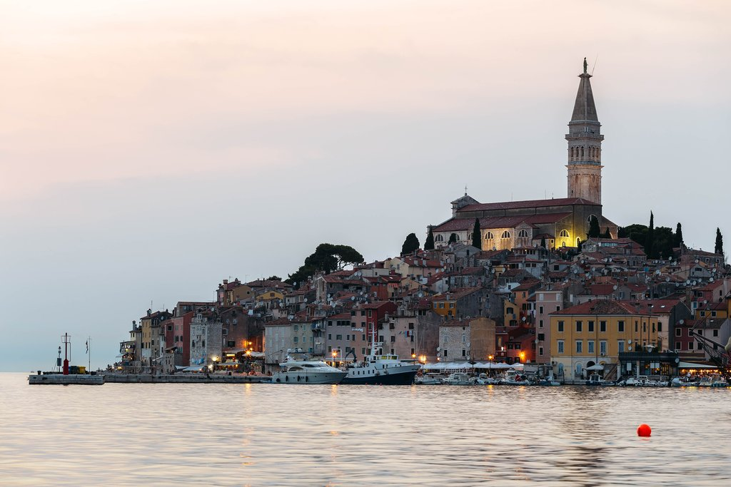 Sea view of Church of St. Euphemia in Rovinj, Croatia