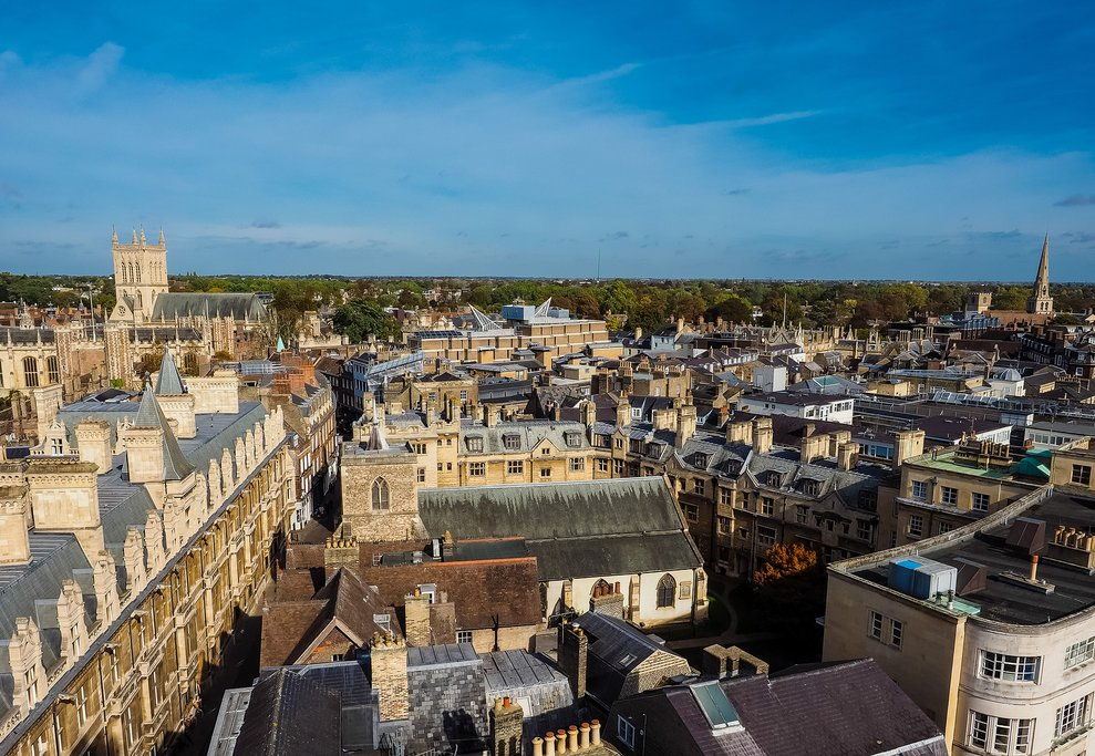 An aerial view of Cambridge, UK