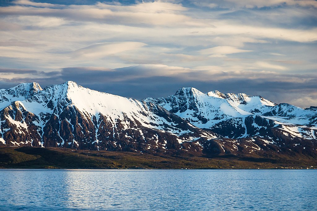 Snowcapped scenery along Norway's most northerly coast