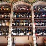 Wine displayed under stone arches