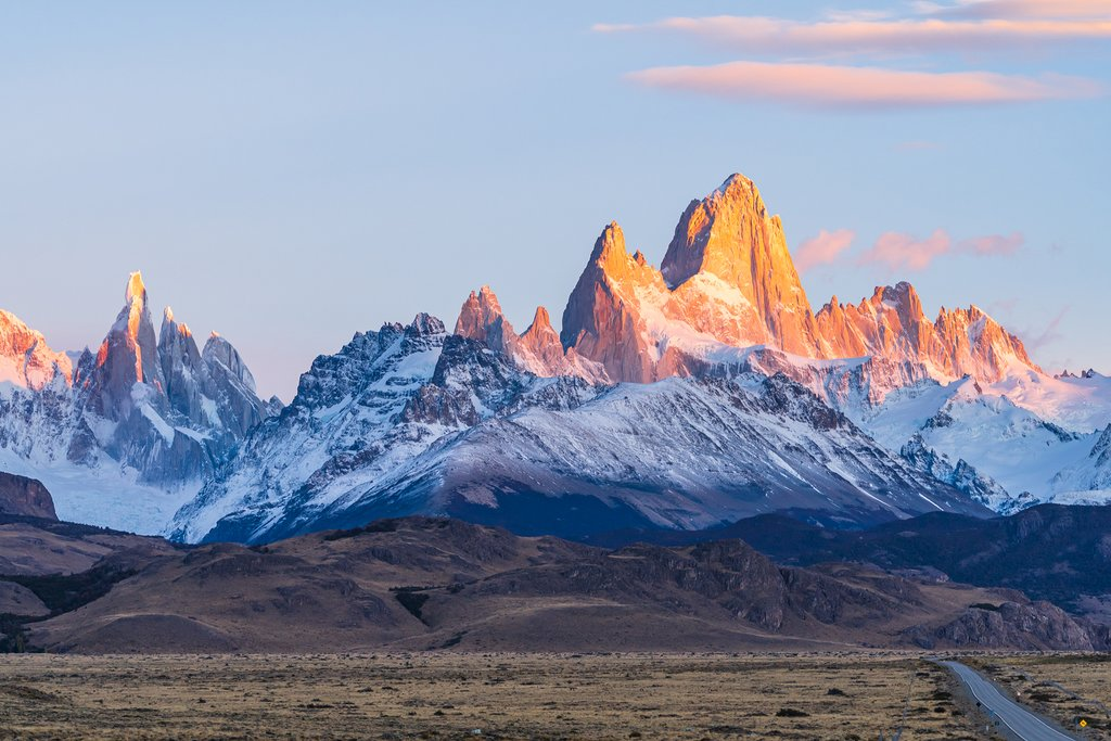 Sunrise over Fitz Roy and Cerro Torres