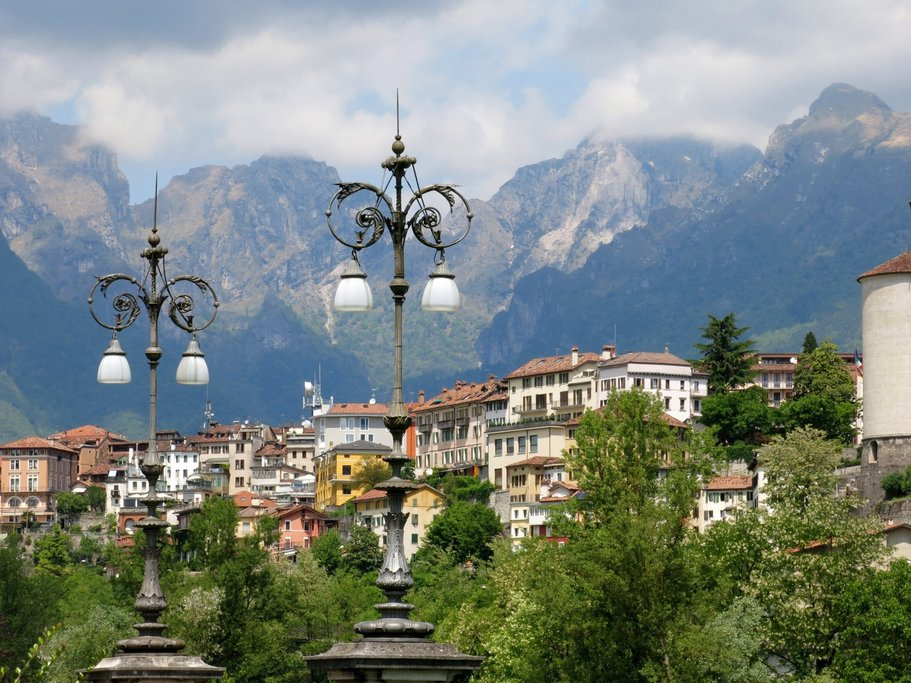 View of Belluno and the Dolomites, Italy