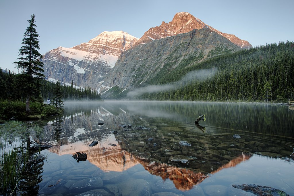 Sunrise over Cavell Lake, Jasper National Park