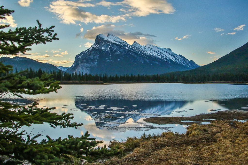 Mount Rundle reflected in  Vermilion Lakes