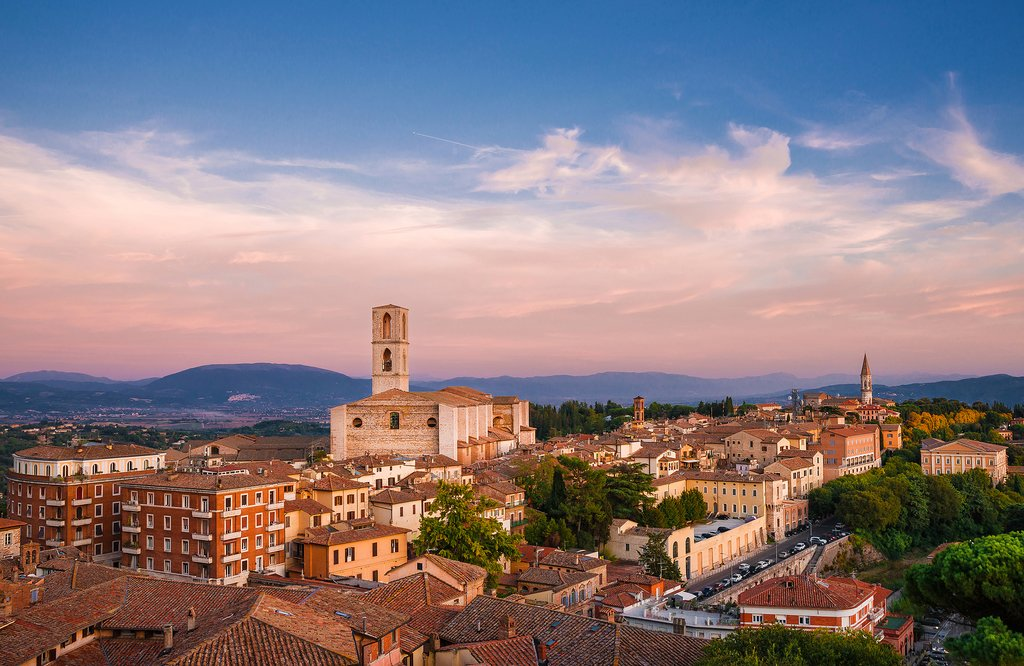 Sunset over Perugia's beautiful historic center.