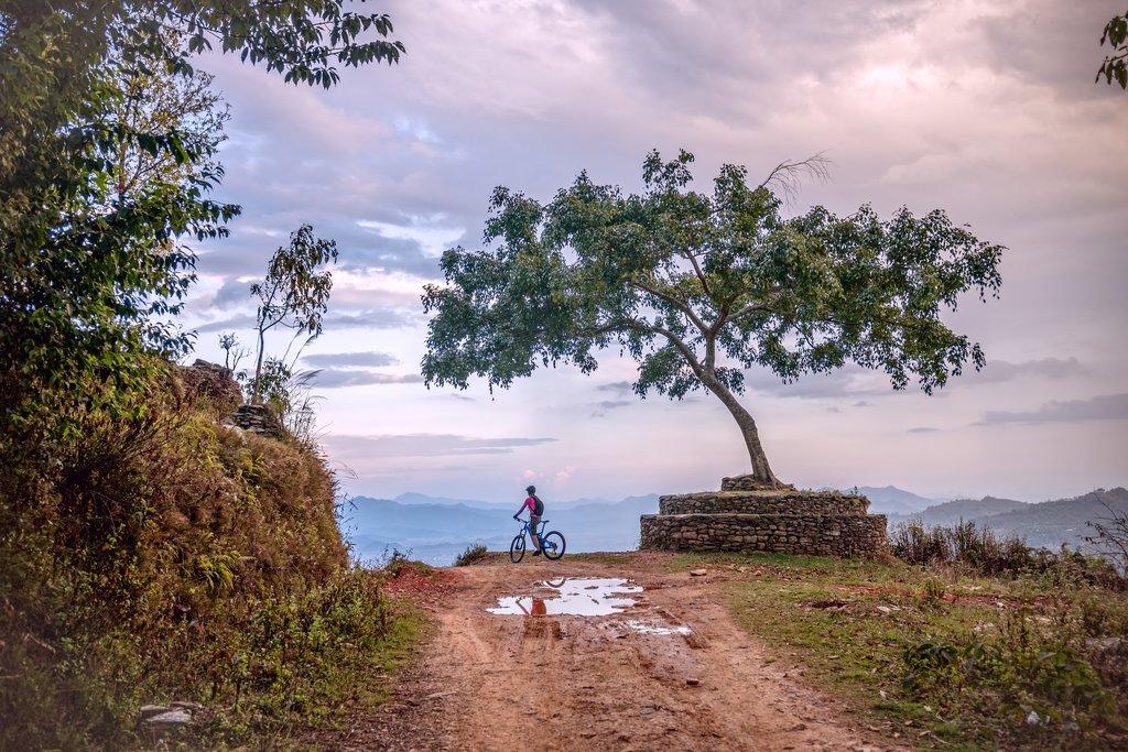 Mountain biking just outside of Pokhara