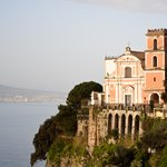 Church on the Amalfi Coast with Mount Vesuvius in the background