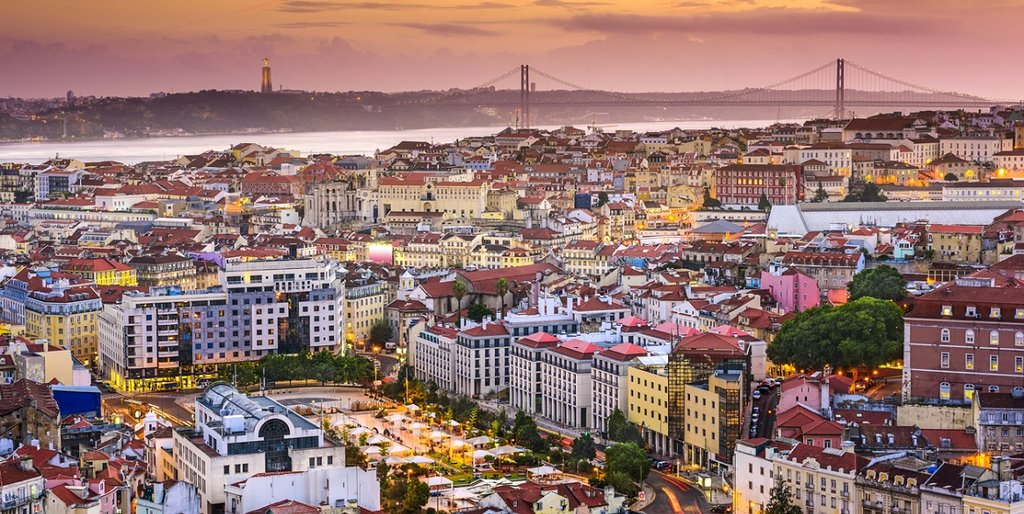 Aerial view over Lisbon