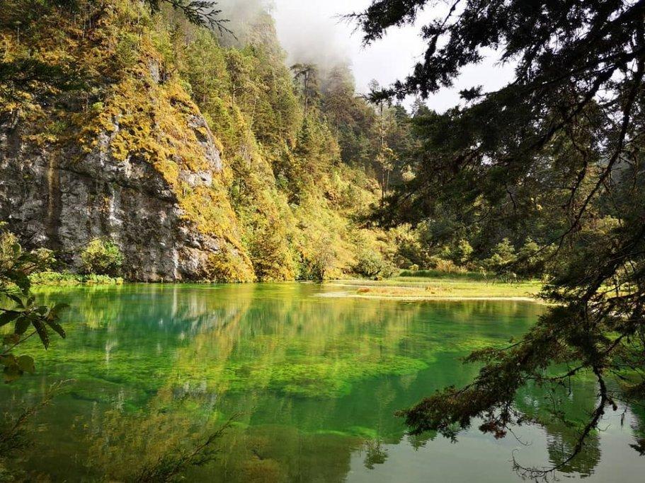 The emerald green waters of Laguna Magdalena,
