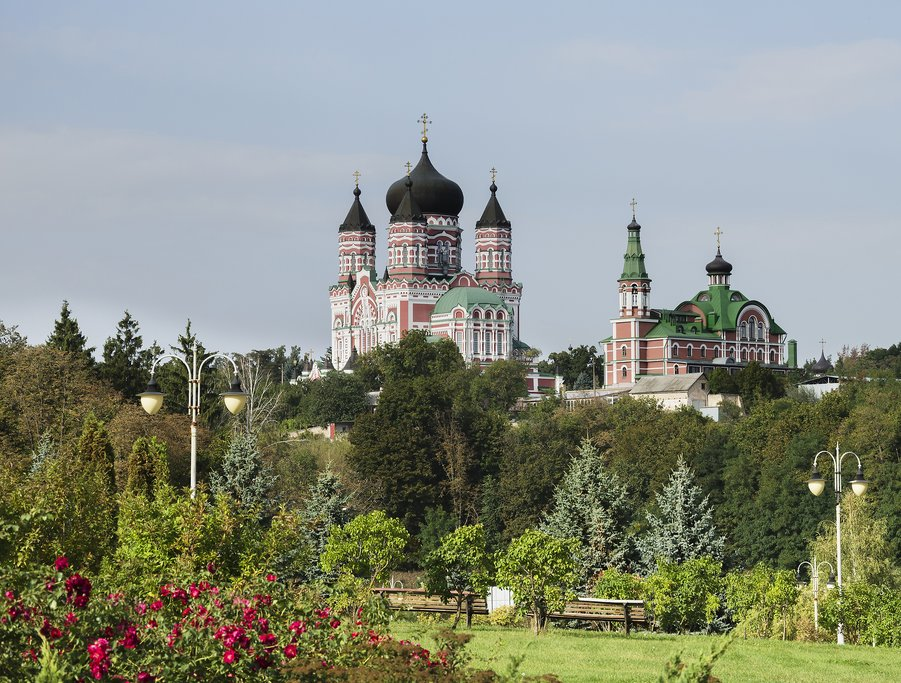 St. Panteleimon Cathedral overlooks beautiful Feofaniya Park