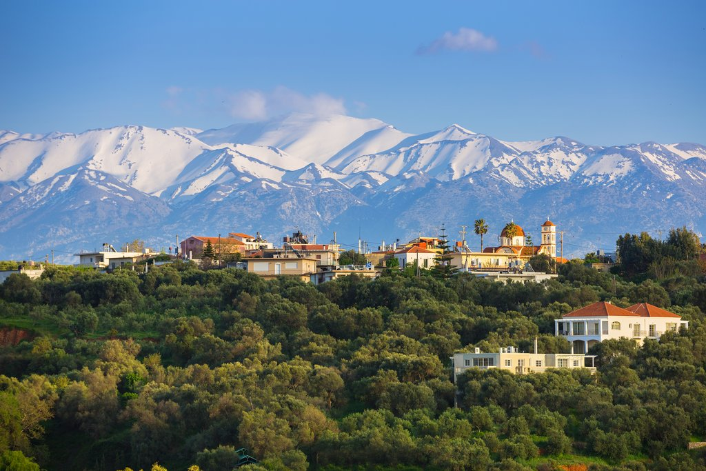 Crete's mountains are snow-topped in winter