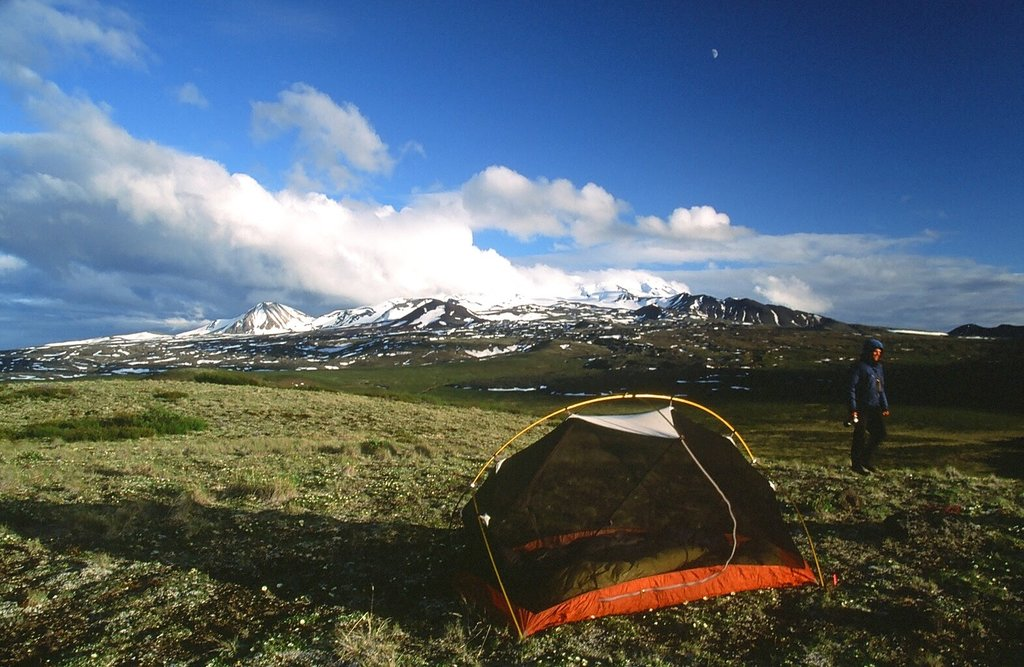 First camp above tree line, northern flank of Edziza