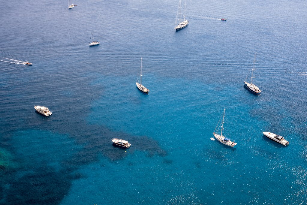 Private yachts moored near Capri Island