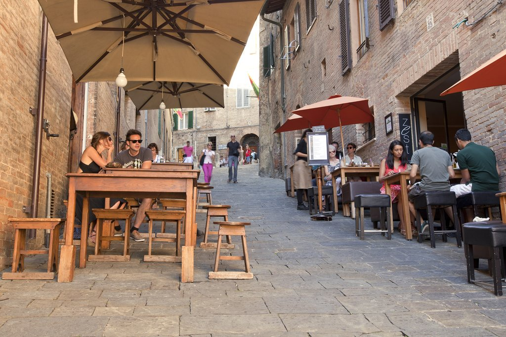 Dining outside in Siena, Tuscany