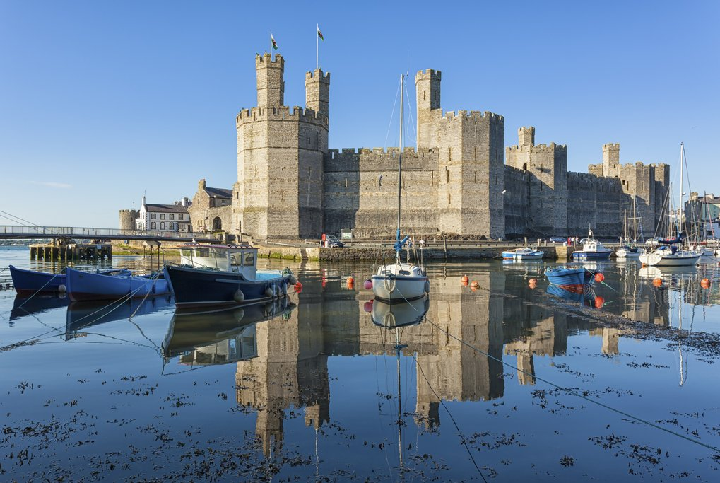 Moored boats at Caernarfon Castle, North Wales