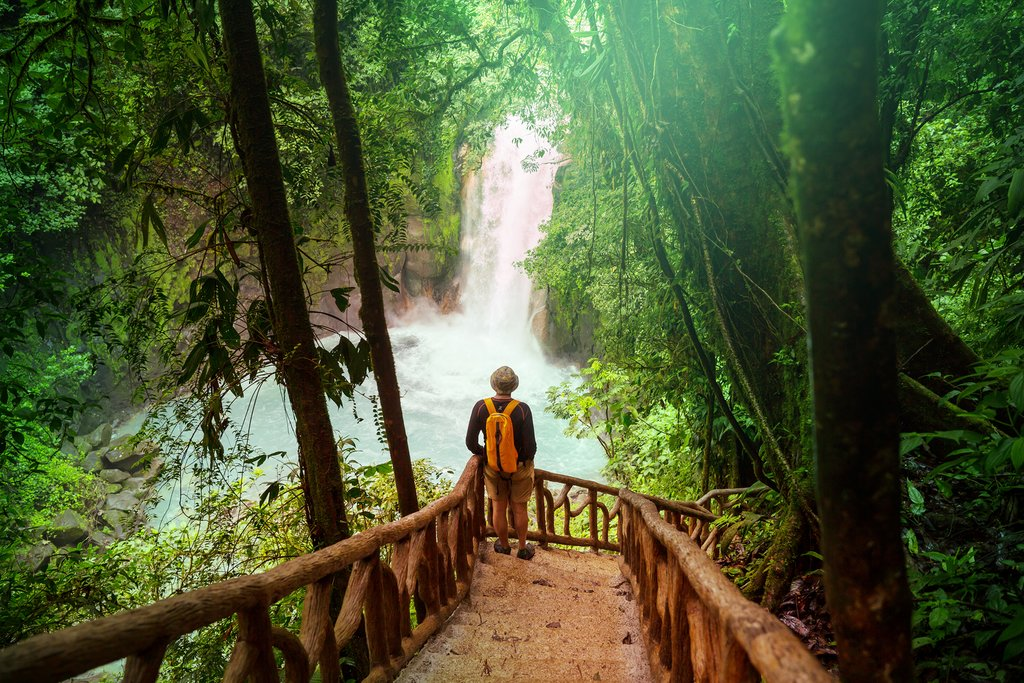 Hiking to a waterfall in Costa Rica's jungle