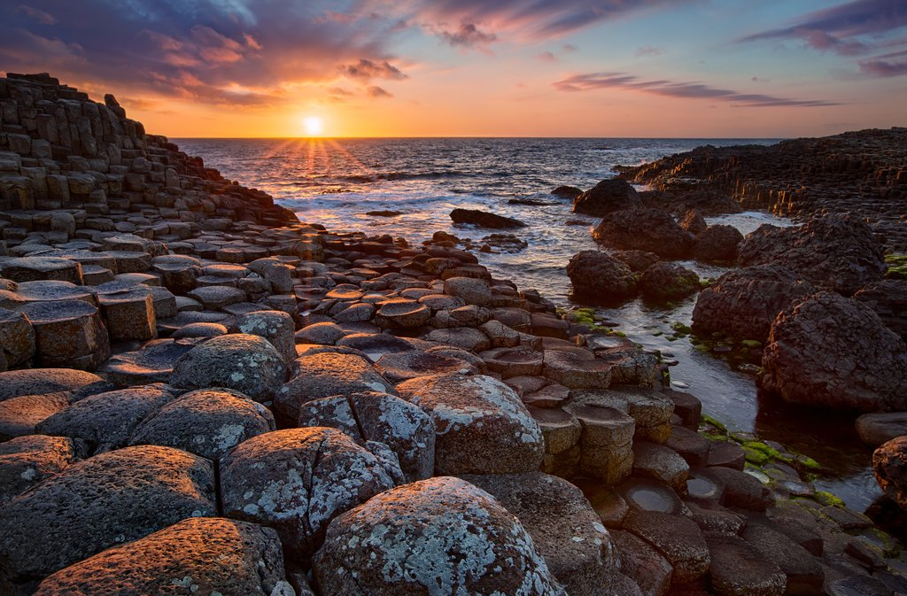 Sunset over the Giant's Causeway.