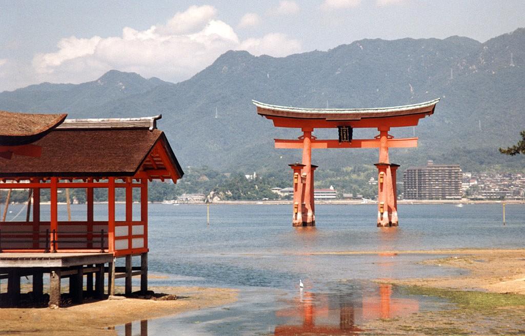 Torii gate at the entrance of the Itsukushima Shrinein Miyajima